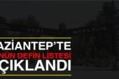 Gaziantep'te bugünün defin listesi açıklandı